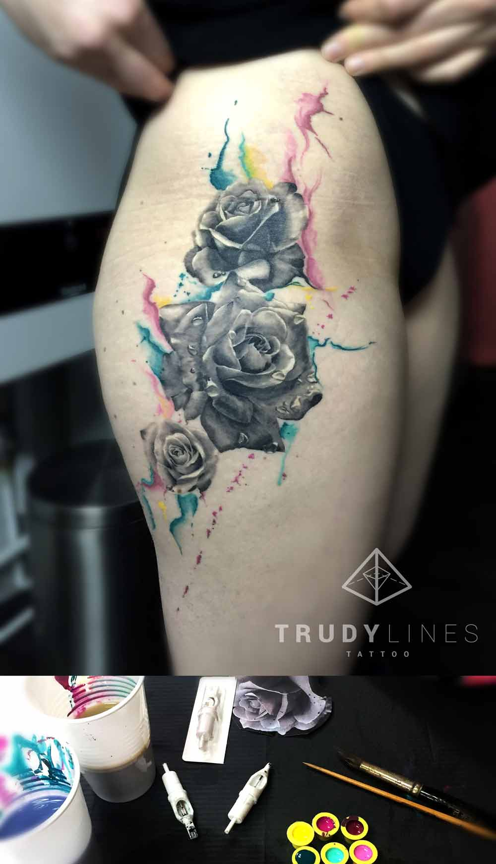 Realistic Rose Tattoo Watercolor