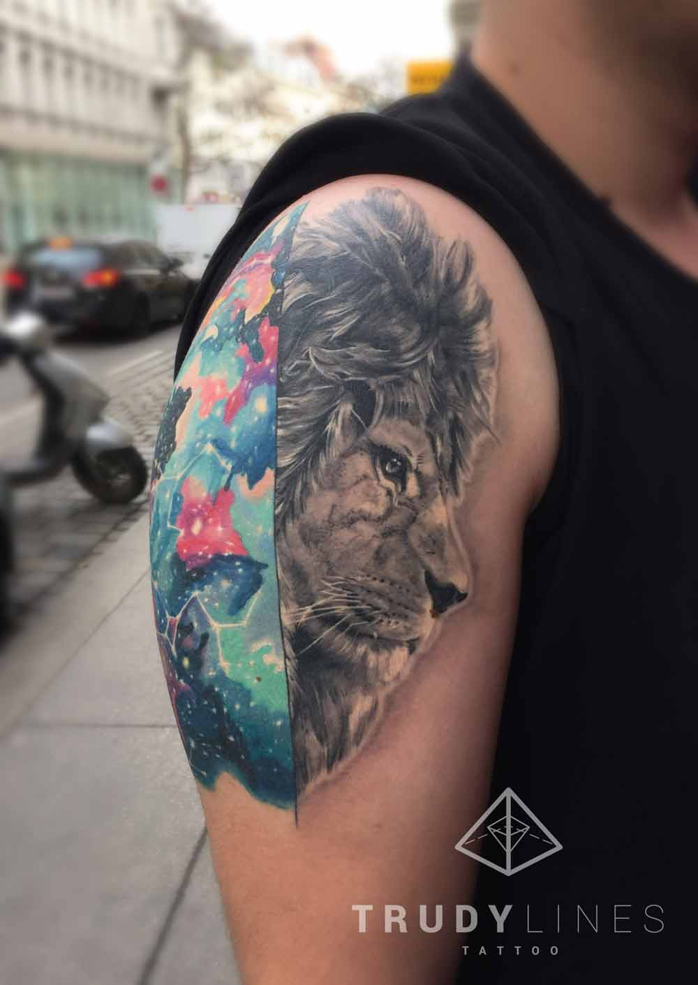 Realistic Lion Tattoo Cosmic