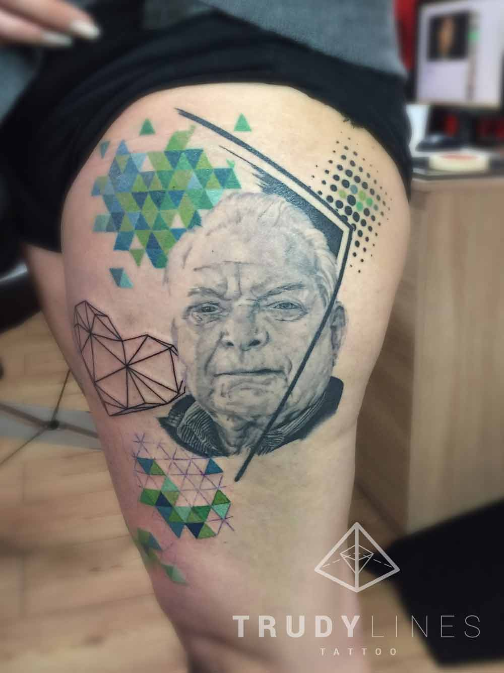 Geometric Portrait Tattoo