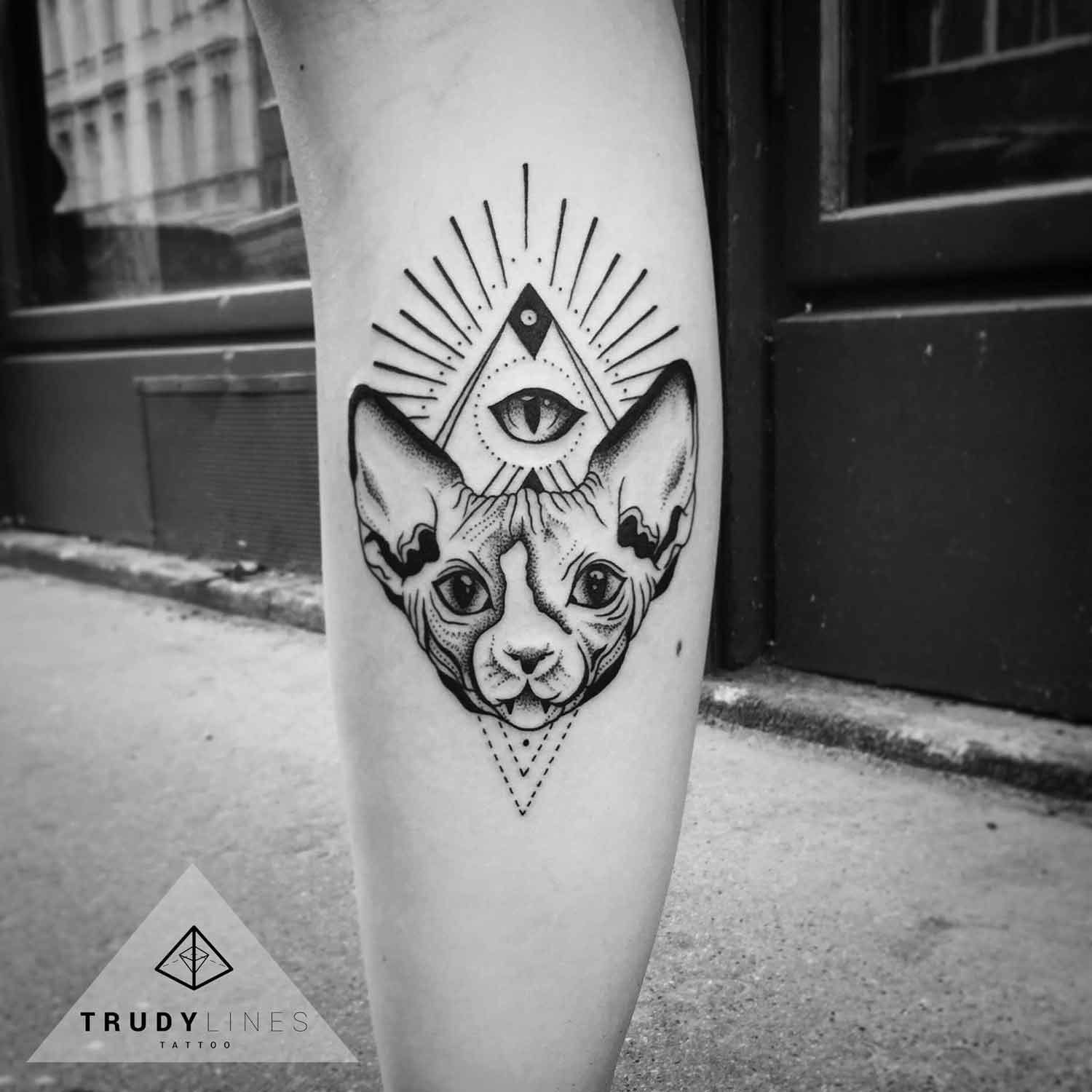 Geometric Cat Tattoo Dotwork