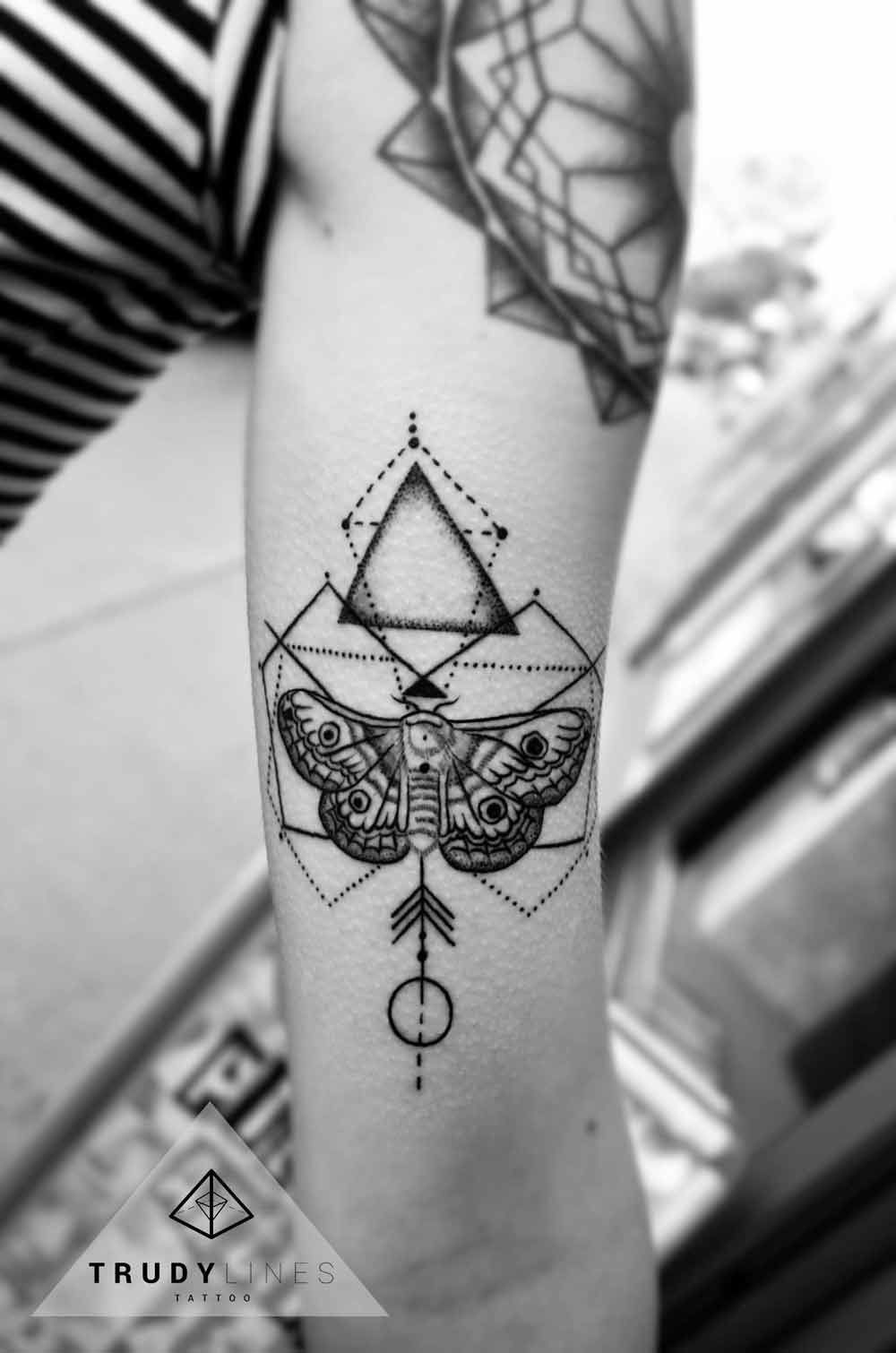 Geometric Moth Tattoo Dotwork