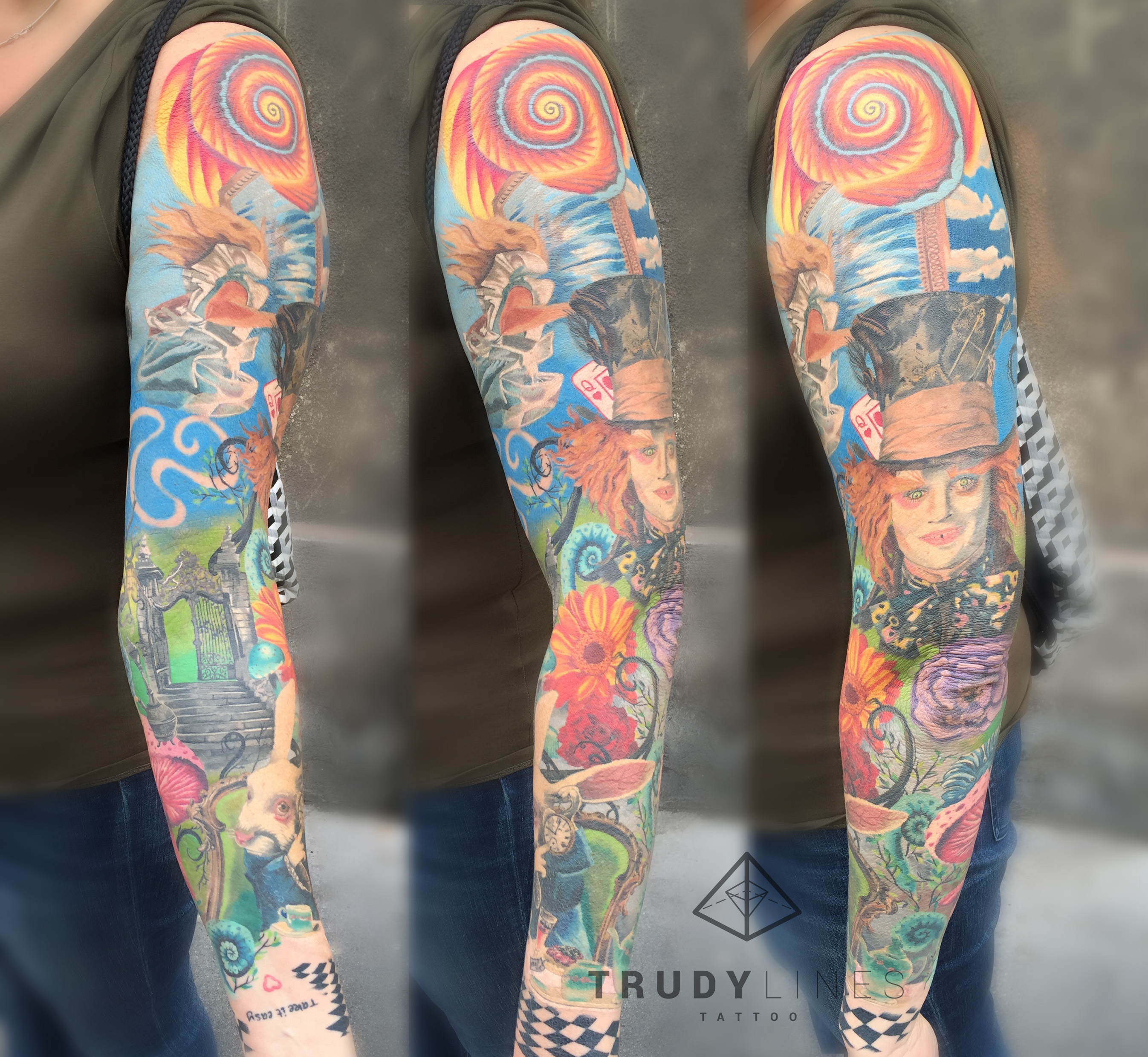 Color Realism Alice in Wonderland Tattoo Sleeve