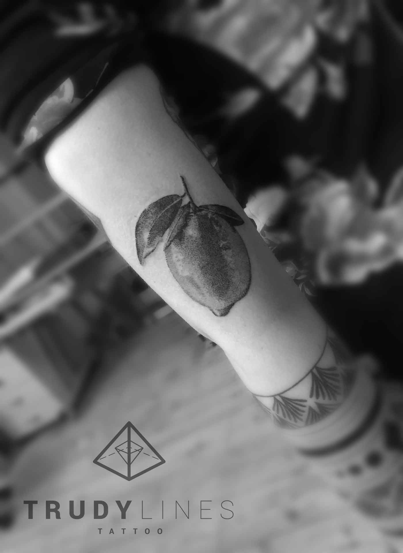 Realistic Lime Tattoo Dotwork