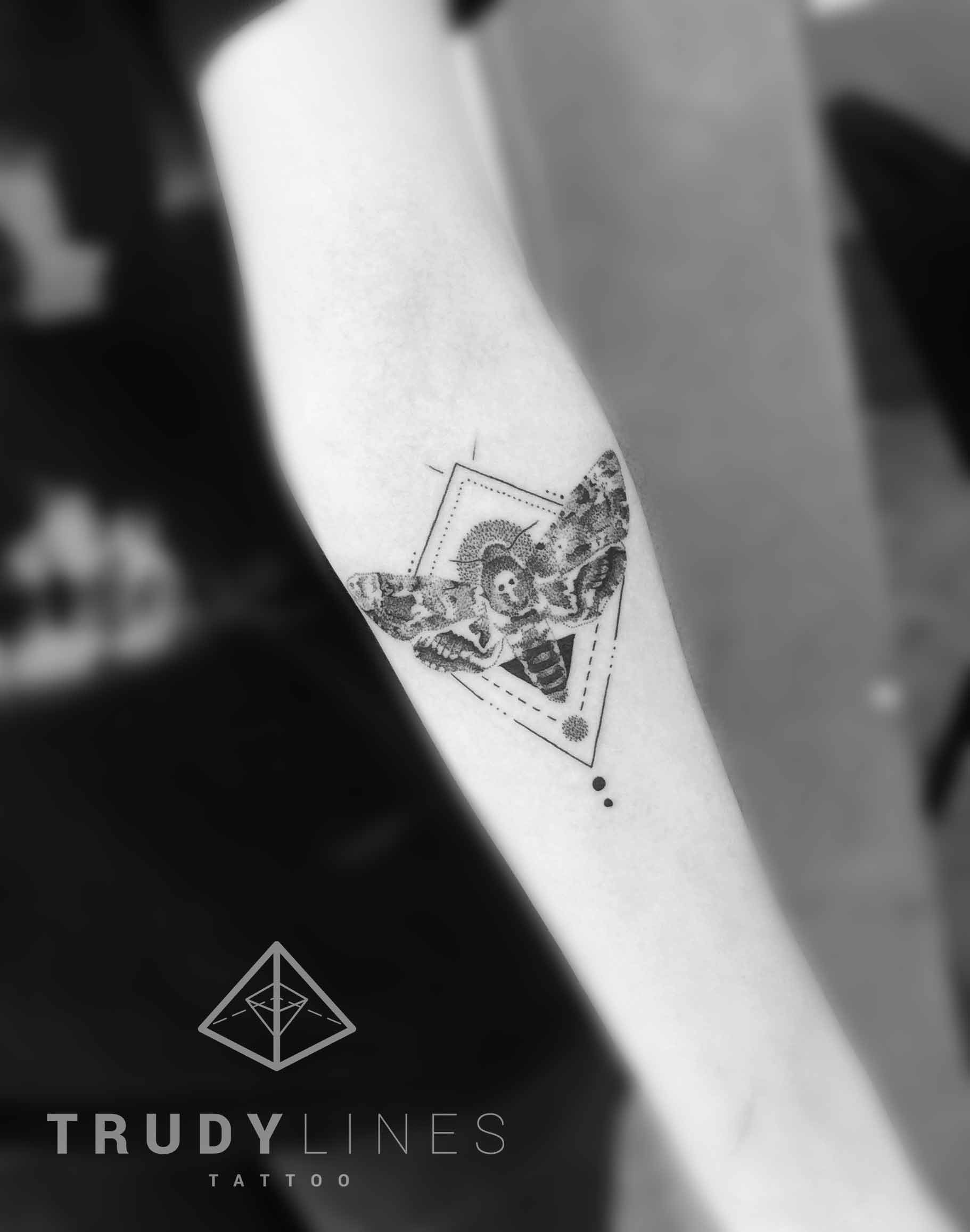 Geometric Tattoo Deadhead Moth