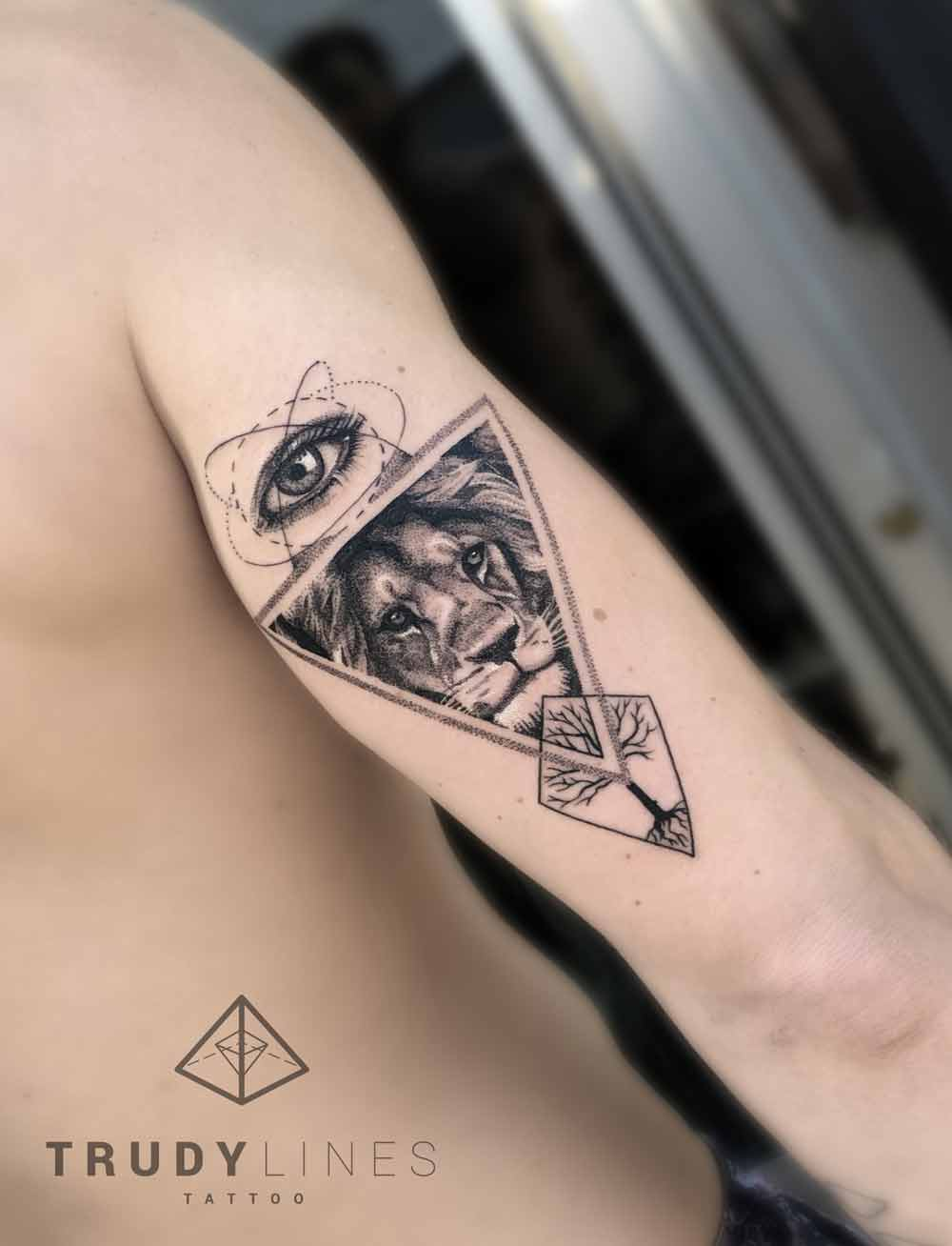 lion tattoo triangle