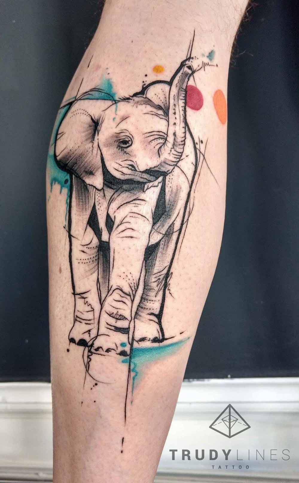 sketchtattoo elephant watercolortattoo