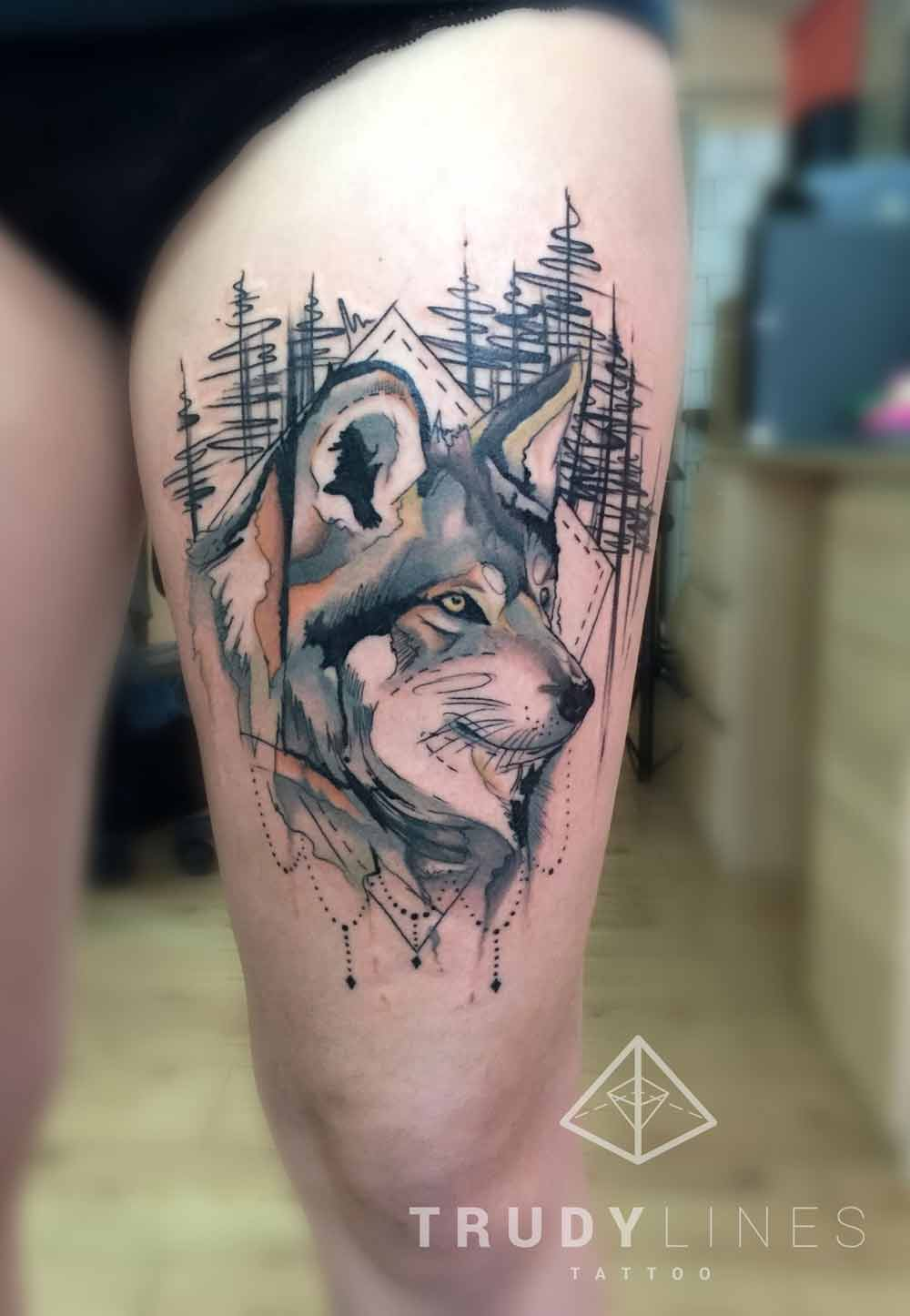 Sketch Wolf Tattoo Watercolor