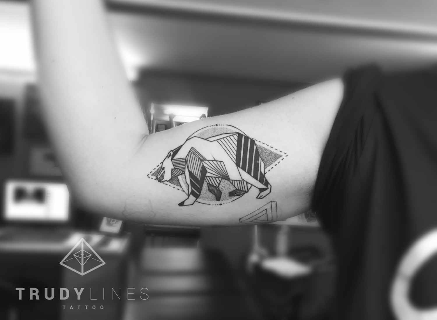 Geometric Bear Tattoo Dotwork Linework